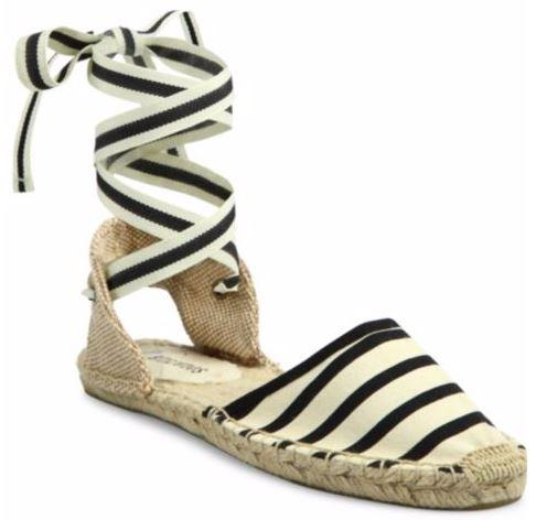 Striped Canvas Soludos Classic Striped Ankle-Wrap Espadrilles