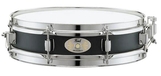 Take 8% Pearl Piccolo Black-lacquered Steel Snare Drum