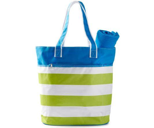 Get 20% Off Green & Blue Beach Tote with Towel