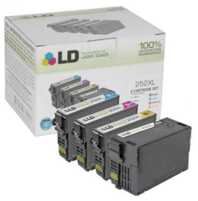 4 Ink Cartridges for Epson 252XL: 1 Each of Black, Cyan, Magenta, & Yellow