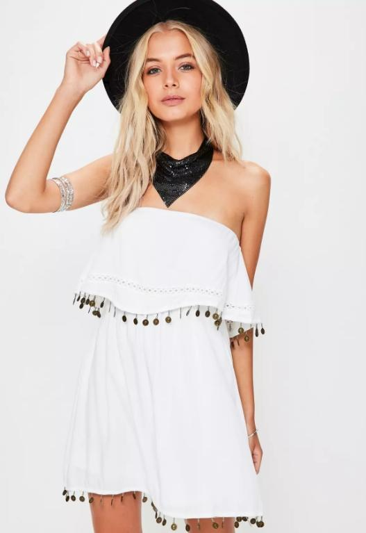 Double layer White Bandeau  coin swing dress