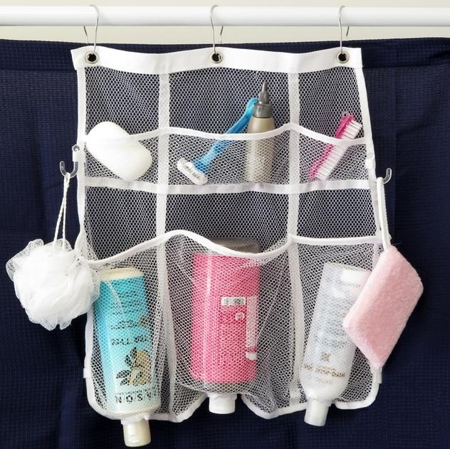 Mesh Shower Organizer Evelots Quick-Dry Hanging Shower Caddy With 6 Dispenser Pockets