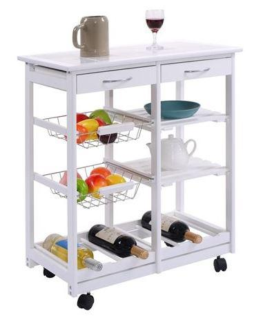 Portable Costway Rolling Wood Kitchen Trolley Cart
