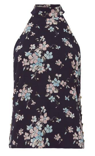 Floral Mock Neck Yasmin Sleeveless Blouse