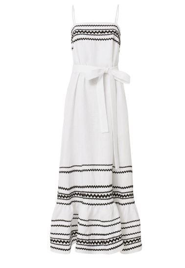 100% Linen Lisa Marie Fernandez Ric Rac Trimmed Dress