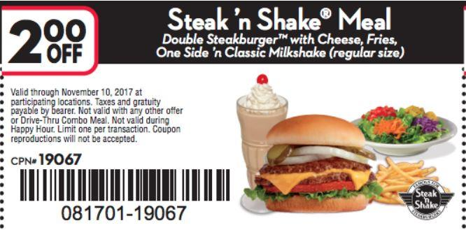 Take $2 Off Steak And Shake Meal
