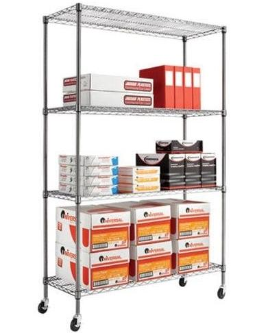 77% Off Alera Complete Wire Shelving Unit w/Caster, 4-Shelf, Black Anthracite