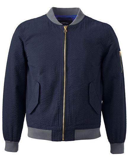 66% Off Men's Seersucker Bomber Jacket