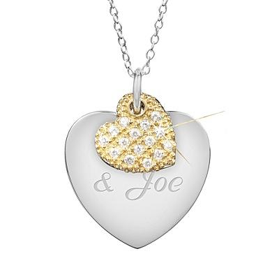 33% Off Sterling Silver Two-Tone Hearts Necklace with Free Classic Beveled Edge Round Keepsake Box