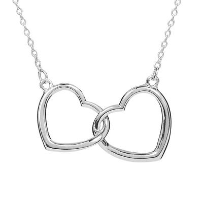 33% Off Sterling Silver Two Hearts Necklace with Free Classic Beveled Edge Round Keepsake Box