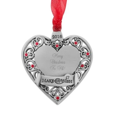 17% Off 2016 Make-A-Wish Genuine Pewter Heart Ornament