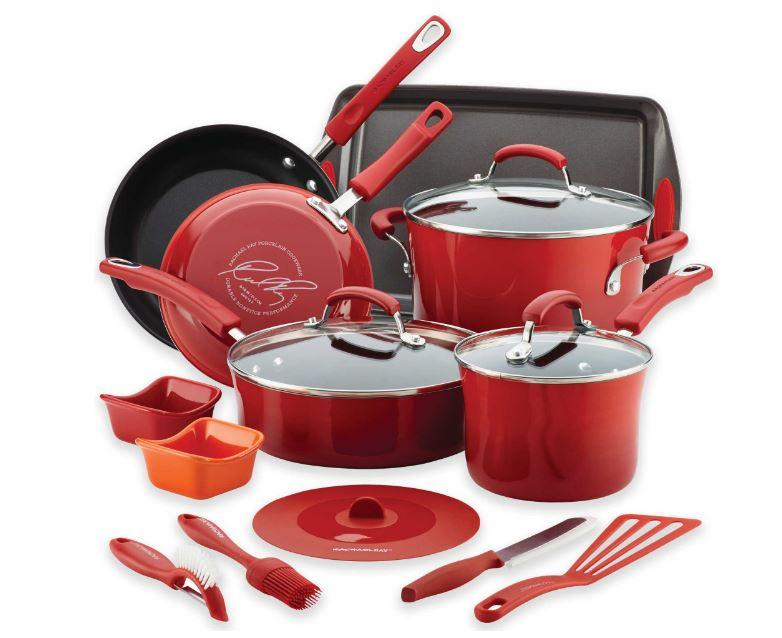 41% Off Rachael Ray Hard Enamel Nonstick 16-Piece Cookware Set