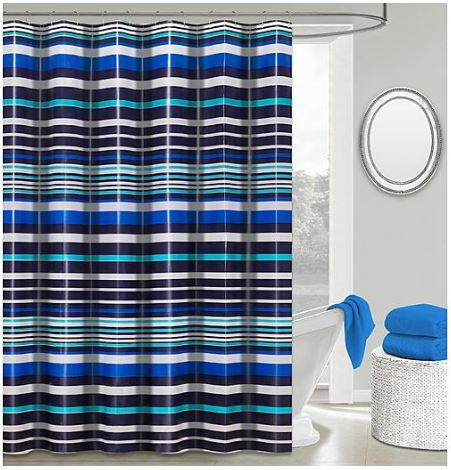 50% Off Colormate Striped Peva Shower Curtain Set