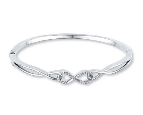 35% Off Diamond Infinity Bracelet 1/10 ct tw Round-cut Sterling Silver
