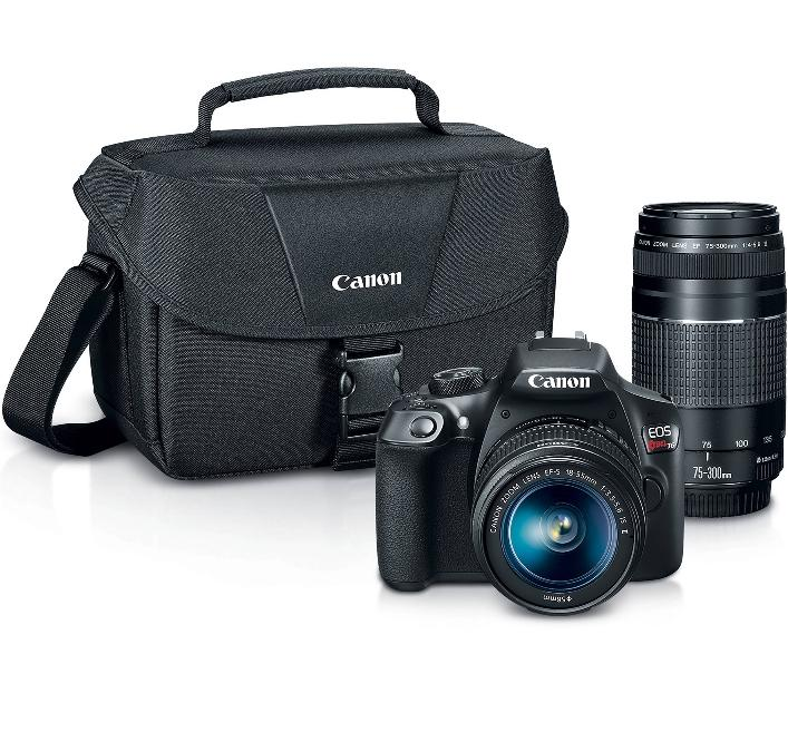 40% Canon EOS Rebel T6 With 18-55mm and 75-300mm Lenses and Camera Bag