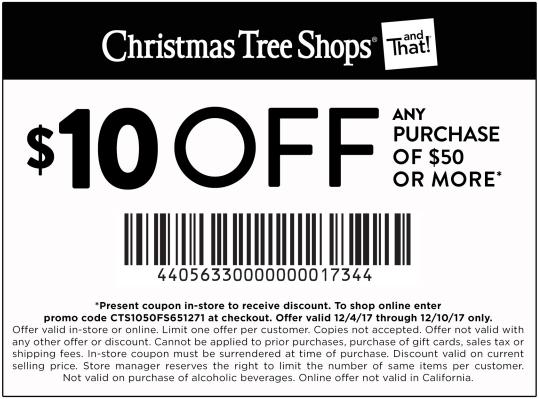 20 Off Christmas Tree Shops Coupons Promo Codes 2019 4 Cash Back