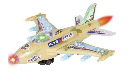 73% Off Kids Toy F-16 Figher Jet Airplane, Flashing Lights and Sound, Bump and Go Action