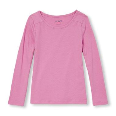 Girls Long Sleeve Solid Layering Top