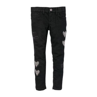 Girls Embellished Heart Patch Rip And Repair Skinny Jeans