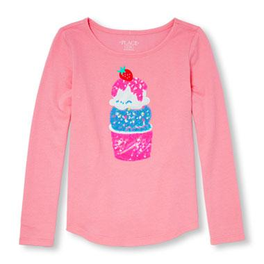Girls Active Long Sleeve Embellished Graphic Top