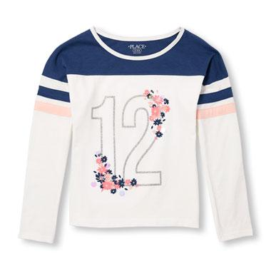 Girls Active Long Football Stripe Sleeve Embellished Graphic Top