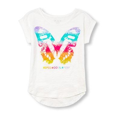 Girls Rolled Short Sleeve Graphic Hi-Low Top