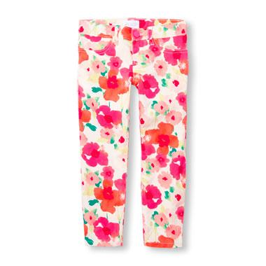 Girls Floral Print Woven Jeggings