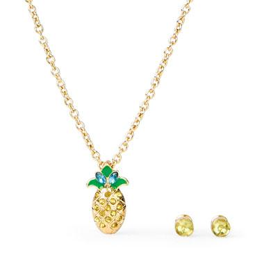 Girls Pineapple Necklace And Rhinestud Earrings Set
