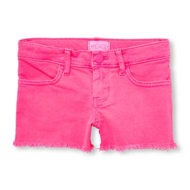 Girls Neon Denim Shortie Shorts