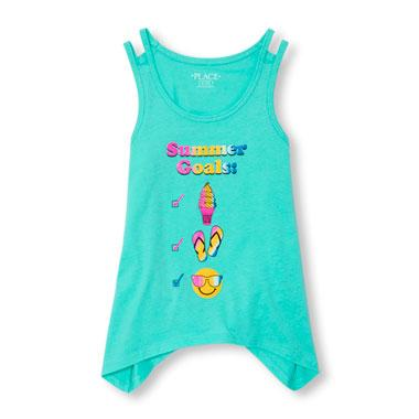 Girls Matchables Sleeveless Double Strap Glitter Graphic Shark-Bite Top