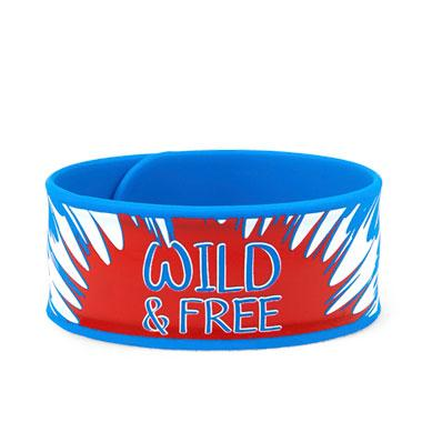Girls Americana 'Wild And Free' Tie-Dye Print Slap Bracelet