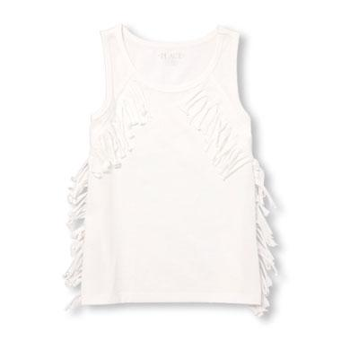 Girls Sleeveless Fringe Tank Top