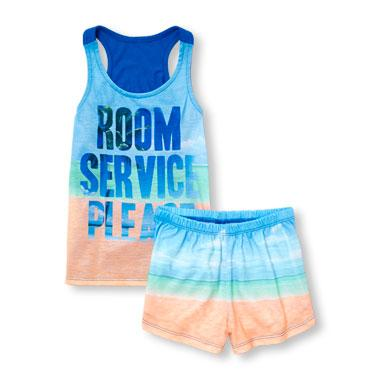 Girls Sleeveless 'Room Service Please' Top And Beach Print Shorts PJ Set