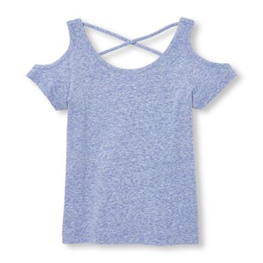 Girls Short Sleeve Heathered Cross-Back Cold-Shoulder Top