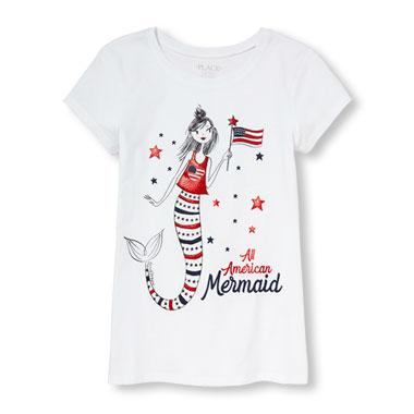 Girls Americana Short Sleeve Glitter 'All American Mermaid' Graphic Tee