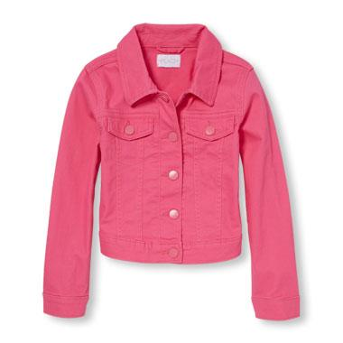 Girls Long Sleeve Pink Denim Jacket