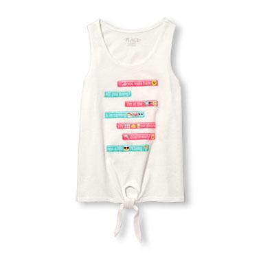 Girls Sleeveless Glitter Emoji Graphic Tie Front Tank Top