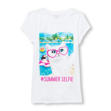 Girls Short Sleeve 'Summer Selfie' Cat And Dog Vacation Graphic Tee