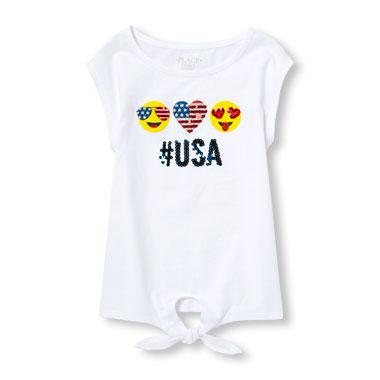 Girls Americana Short Sleeve Embellished Graphic Tied-Front Top
