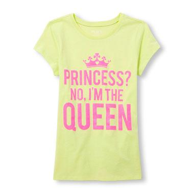 Girls Short Sleeve Glitter 'Princess? No I'm The Queen' Graphic Tee