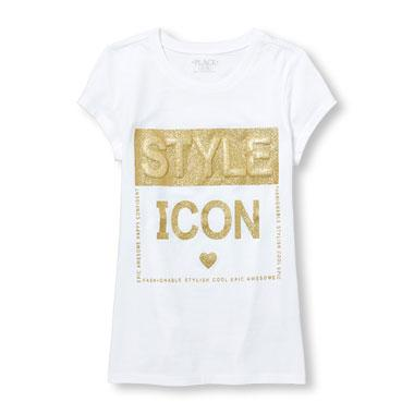 Girls Short Sleeve Glitter 3D 'Style Icon' Graphic Tee