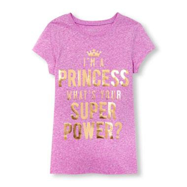 Girls Short Sleeve 'I'm A Princess What's Your Super Power' Neon Graphic Tee