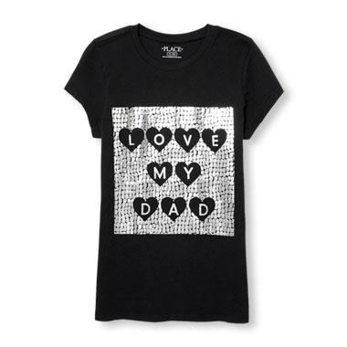 Girls Short Sleeve 'Love My Dad' Foil Graphic Tee