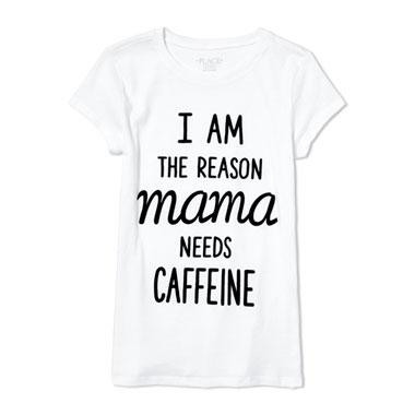 Girls Mommy And Me Short Sleeve 'I Am The Reason Mama Needs Caffeine' Graphic Tee