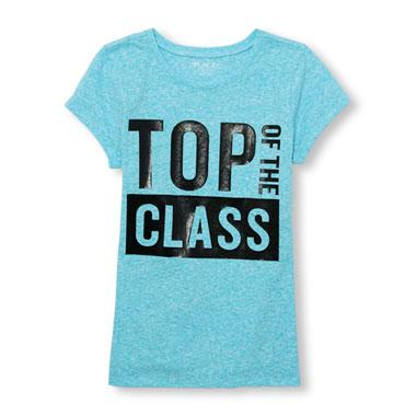 Girls Short Sleeve 'Top Of The Class' Graphic Tee