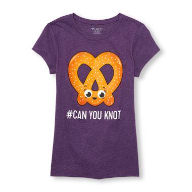 Girls Short Sleeve 'Can You Knot' Pretzel Graphic Tee