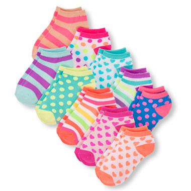 Girls Multicolor Mixed Print Ankle Socks 10-Pack