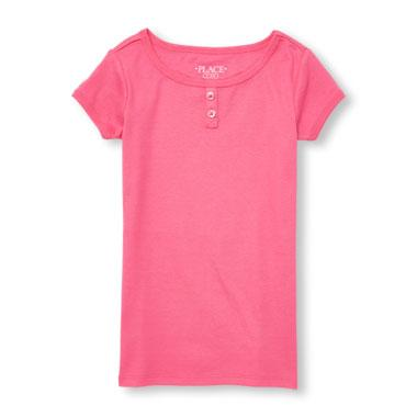 Girls Short Sleeve Solid Button Placket Pajama Top