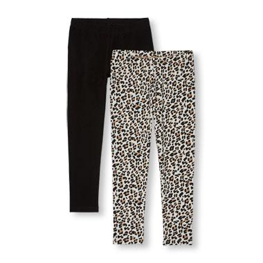 Girls Solid And Leopard Print Leggings 2-Pack