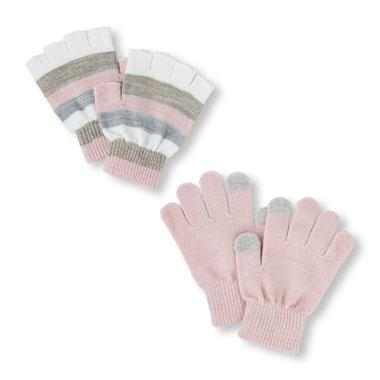 Girls Solid Texting And Sparkle Stripe Fingerless Gloves 2-Pack